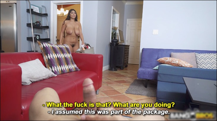 Maid Violet Myers walks on guy jerking off